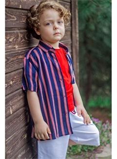 Hilal Akıncı Kids Erkek Çocuk Çızgılı Gömlek Renklı Şort Tışört Üçlütakim